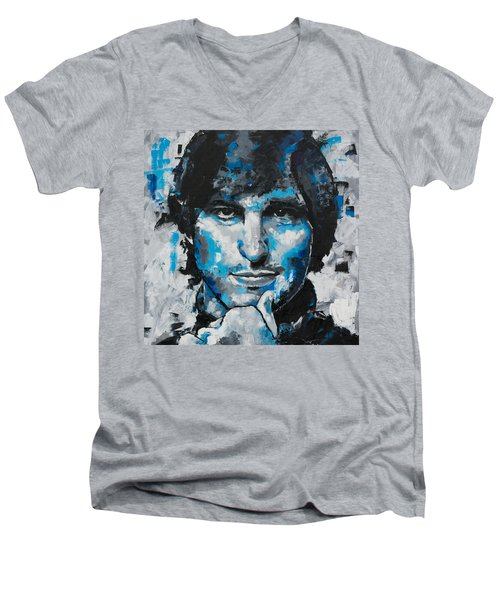 Men's V-Neck T-Shirt featuring the painting Steve Jobs II by Richard Day