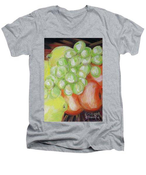 Still Life. Grapes. Fruits.  Men's V-Neck T-Shirt