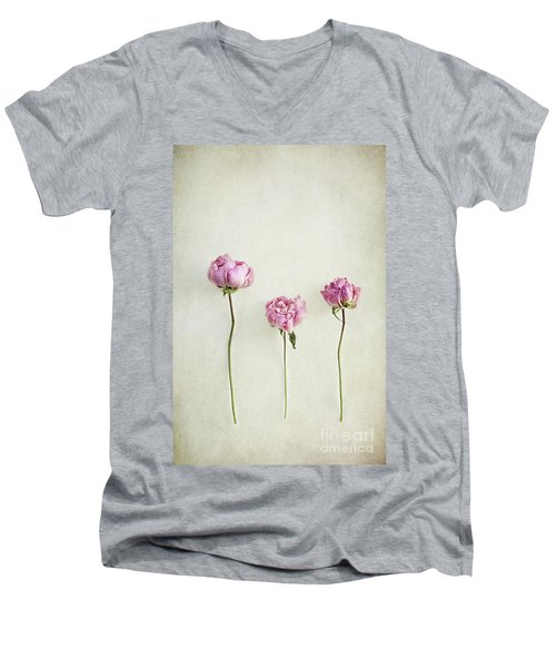 Still Life Of Dried Peonies With Texture Overlay Men's V-Neck T-Shirt