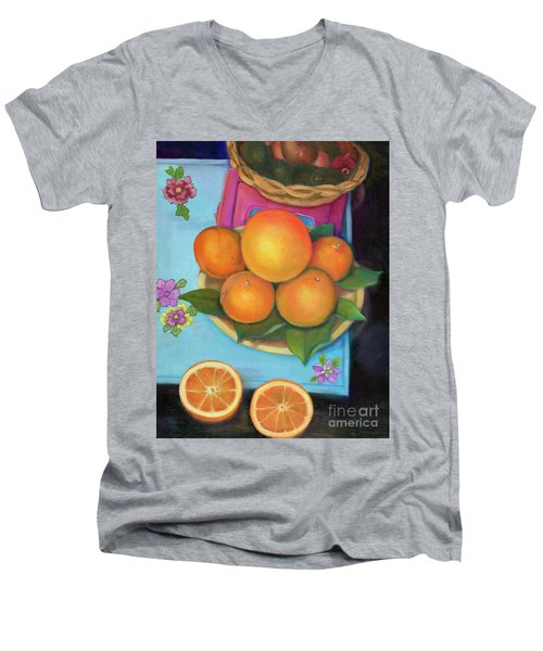 Still Life Oranges And Grapefruit Men's V-Neck T-Shirt by Marlene Book
