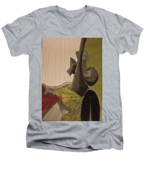 Still Life With A Black Horse- Cubism Men's V-Neck T-Shirt