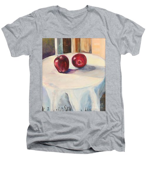 Still Life With Apples Men's V-Neck T-Shirt by Daun Soden-Greene