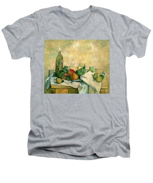 Still Life With Bottle Of Liqueur Men's V-Neck T-Shirt by Paul Cezanne