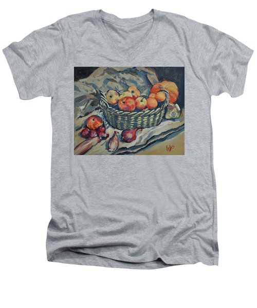 Still Life With Fruit And Vegetables Men's V-Neck T-Shirt