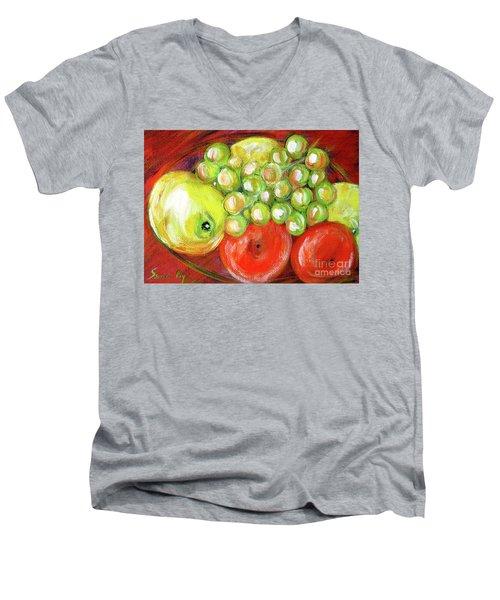 Still Life With Fruit. Painting Men's V-Neck T-Shirt