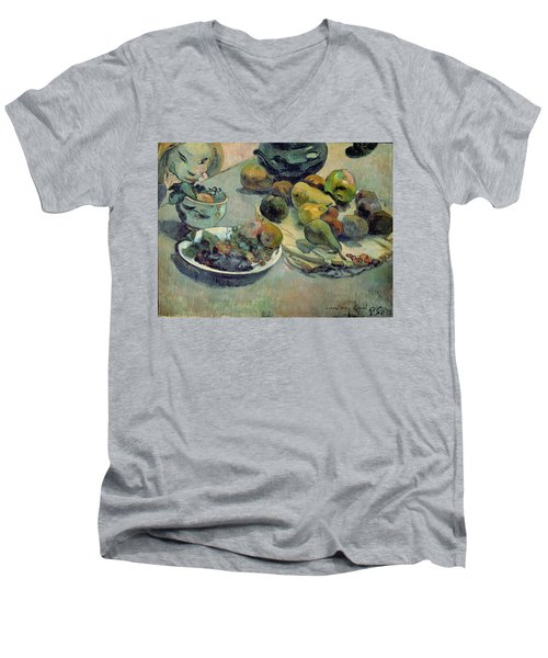 Still Life With Fruit Men's V-Neck T-Shirt by Paul Gauguin