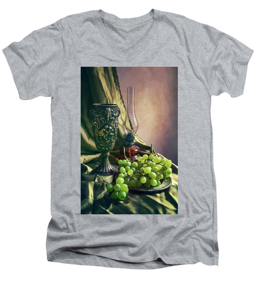 Men's V-Neck T-Shirt featuring the photograph Still Life With Green Grapes by Jaroslaw Blaminsky