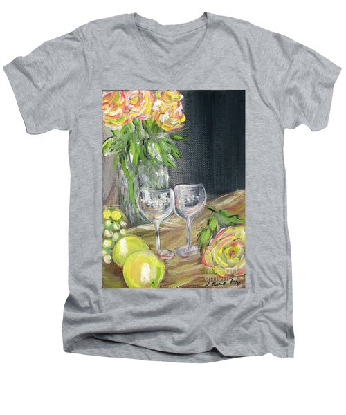 Still Life With Lemons, Roses  And Grapes. Painting Men's V-Neck T-Shirt
