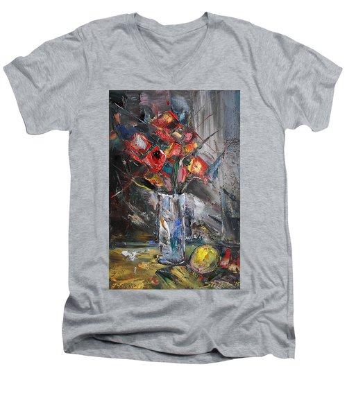 Still Life With Red Flowers And Lemon Men's V-Neck T-Shirt