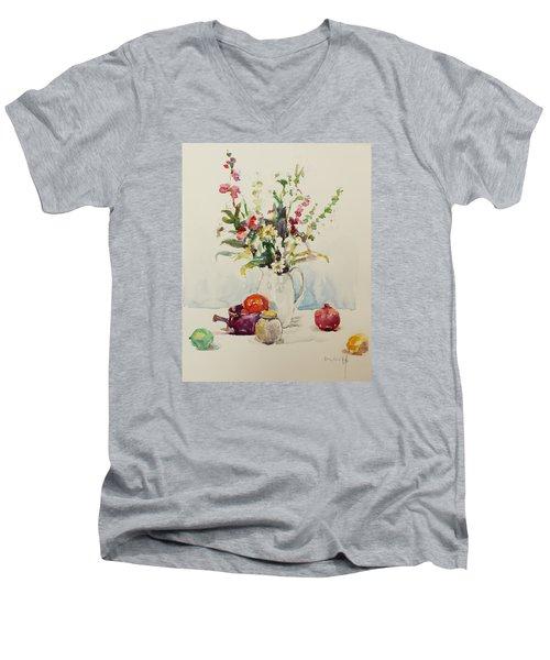 Still Life With Pomegranate Men's V-Neck T-Shirt by Becky Kim