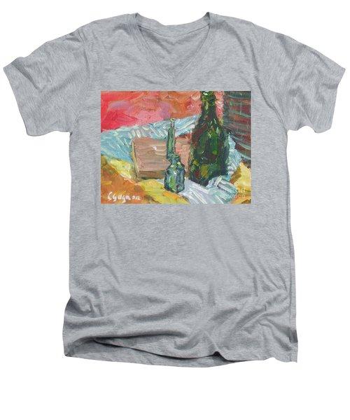Still Life With Three Bottles Men's V-Neck T-Shirt