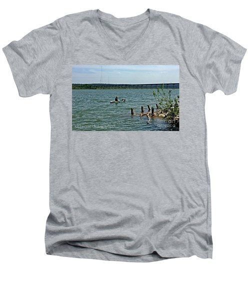 Men's V-Neck T-Shirt featuring the photograph Stillhouse Lake Canoe - No.2016 by Joe Finney