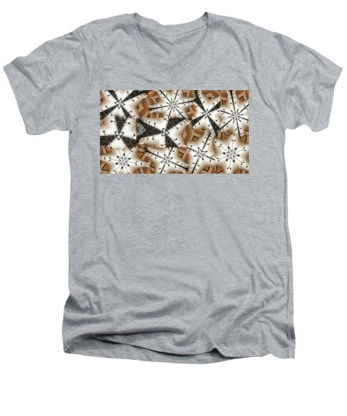 Men's V-Neck T-Shirt featuring the digital art Stitched 3 by Ron Bissett