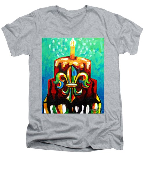 Stl250 Cakeway To The West Payne Gentry House Fleur De Lis Cake Men's V-Neck T-Shirt