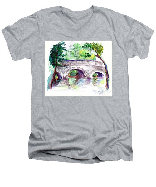 Stone Bridge In Early Autumn Men's V-Neck T-Shirt by Melinda Dare Benfield
