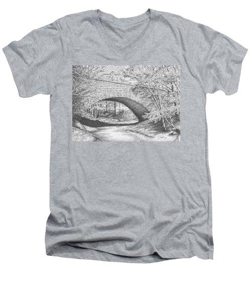 Stone Bridge Men's V-Neck T-Shirt by Lawrence Tripoli