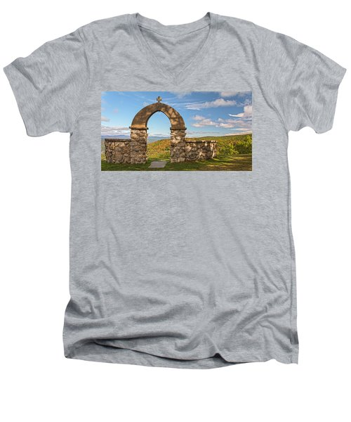 Stone Church In Autumn Men's V-Neck T-Shirt