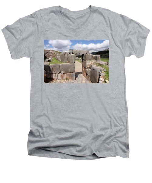 Men's V-Neck T-Shirt featuring the photograph Stone Doorway At Sacsaywaman by Aidan Moran