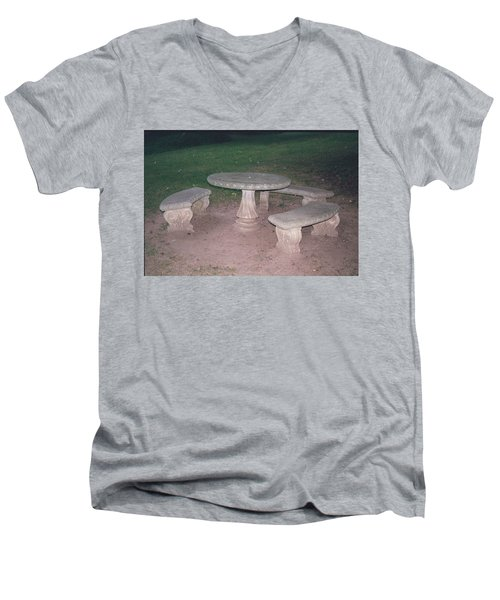 Stone Picnic Table And Benches Men's V-Neck T-Shirt