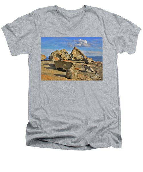 Men's V-Neck T-Shirt featuring the photograph Stone Sculpture by Stephen Mitchell