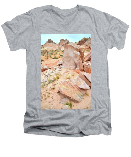 Men's V-Neck T-Shirt featuring the photograph Stone Tablet In Valley Of Fire by Ray Mathis