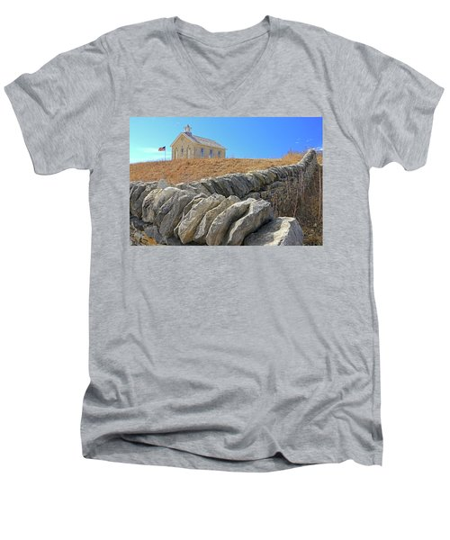 Stone Wall Education Men's V-Neck T-Shirt by Christopher McKenzie