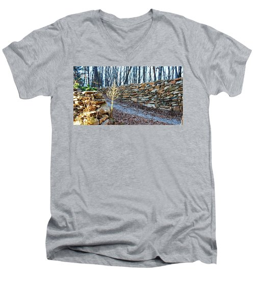 Stone Wall Ga Mountain 1 Men's V-Neck T-Shirt by Angela Murray