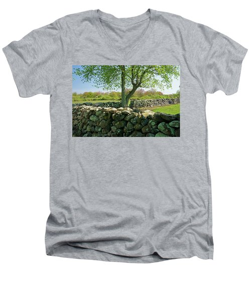 Stone Wall In Rhode Island Men's V-Neck T-Shirt