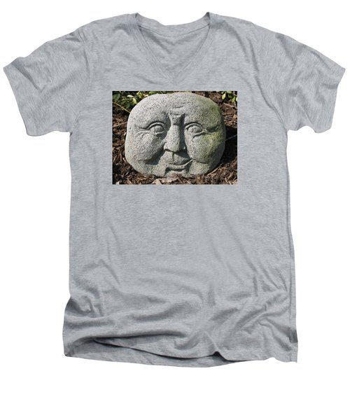 Men's V-Neck T-Shirt featuring the photograph Stoneface by Charles Kraus