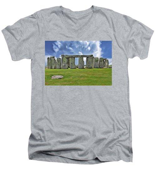 Men's V-Neck T-Shirt featuring the digital art Stonehenge by Harry Warrick