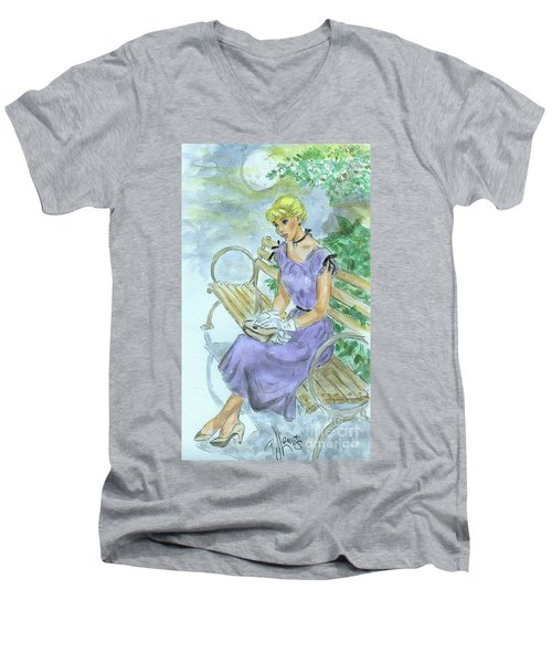 Men's V-Neck T-Shirt featuring the painting Stood Up by P J Lewis