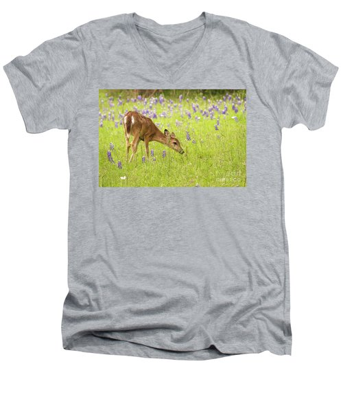 Stop And Smell The Bluebonnets. Men's V-Neck T-Shirt
