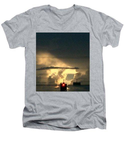 Stoplight In The Sky Men's V-Neck T-Shirt by Audrey Robillard