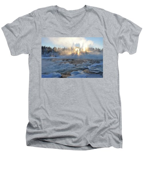 Storforsen, Biggest Waterfall In Sweden Men's V-Neck T-Shirt by Tamara Sushko