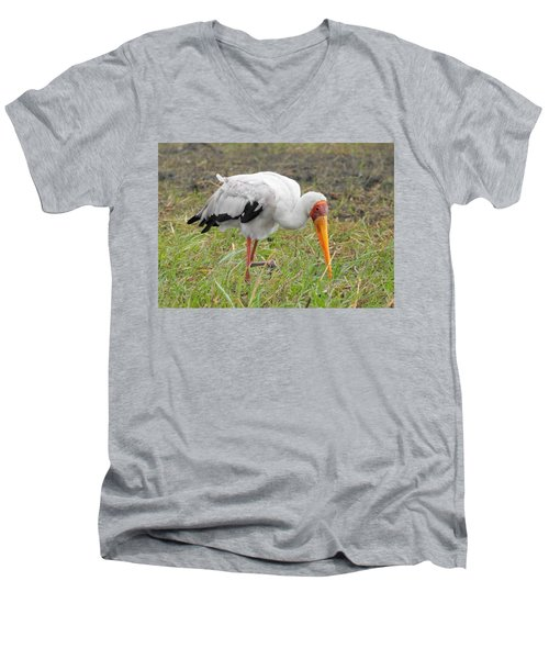 Men's V-Neck T-Shirt featuring the photograph Stork by Betty-Anne McDonald
