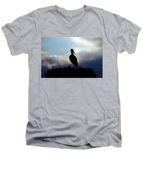 Stork In Evening Light Men's V-Neck T-Shirt
