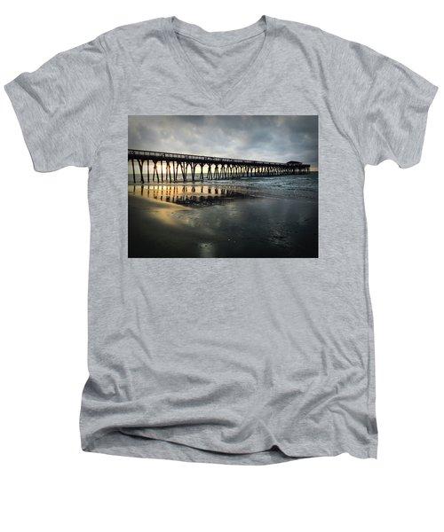 Storm At Sunrise In Color Men's V-Neck T-Shirt by Kelly Hazel