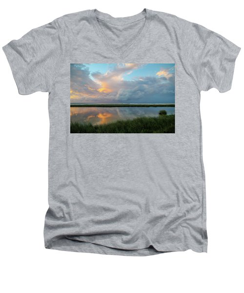 Storm Cloud Reflections At Sunset Men's V-Neck T-Shirt