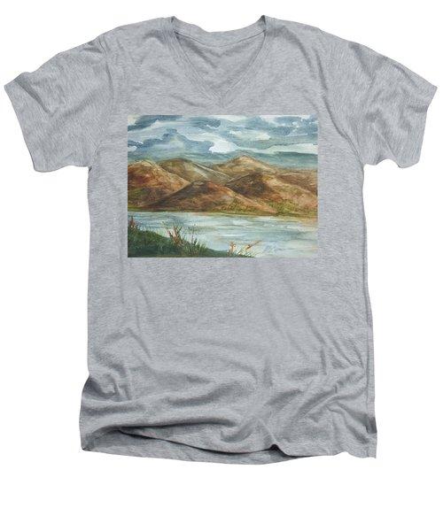 Men's V-Neck T-Shirt featuring the painting Storm Clouds by Ellen Levinson
