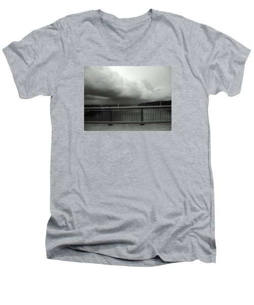 Men's V-Neck T-Shirt featuring the photograph Storm Clouds On The Hudson by Bruce Carpenter