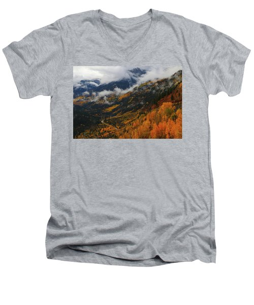 Storm Clouds Over Mcclure Pass During Autumn Men's V-Neck T-Shirt by Jetson Nguyen