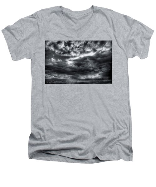 Men's V-Neck T-Shirt featuring the photograph Storm Clouds Ventura Ca Pier by John A Rodriguez