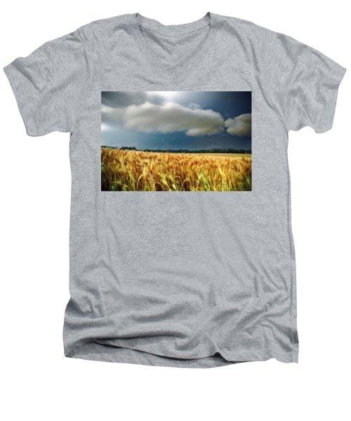 Storm Over Ripening Wheat Men's V-Neck T-Shirt