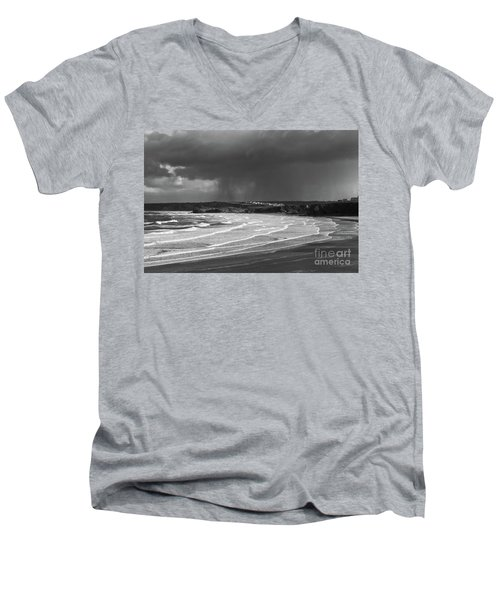 Men's V-Neck T-Shirt featuring the photograph Storm  Over The Bay by Nicholas Burningham