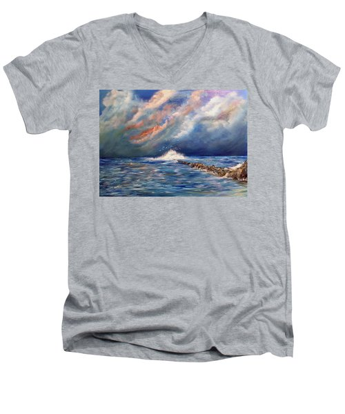 Storm Over The Ocean Men's V-Neck T-Shirt by Dorothy Maier