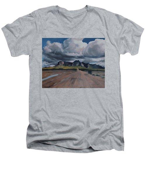 Storm Over The Superstitions Men's V-Neck T-Shirt by Barbara Barber