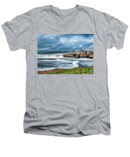 Storm Wave At Sunset Cliffs Men's V-Neck T-Shirt