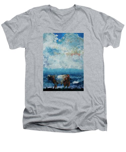 Storms Coming - Belted Galloway Cow Under A Colorful Cloudy Sky Men's V-Neck T-Shirt