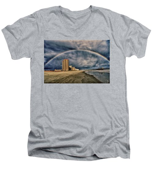 Men's V-Neck T-Shirt featuring the photograph Stormy Rainbow by Kelly Reber