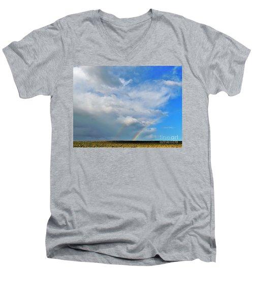 Thunder Storm Rainbow Men's V-Neck T-Shirt by Michele Penner